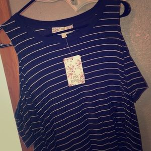 Navy&white striped cold shoulder tunic
